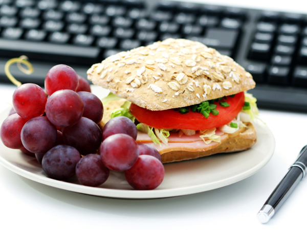 sandwich and grapes