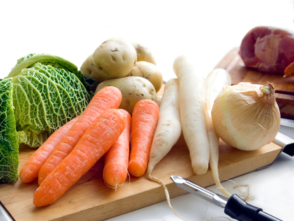 vegetables on cutting board