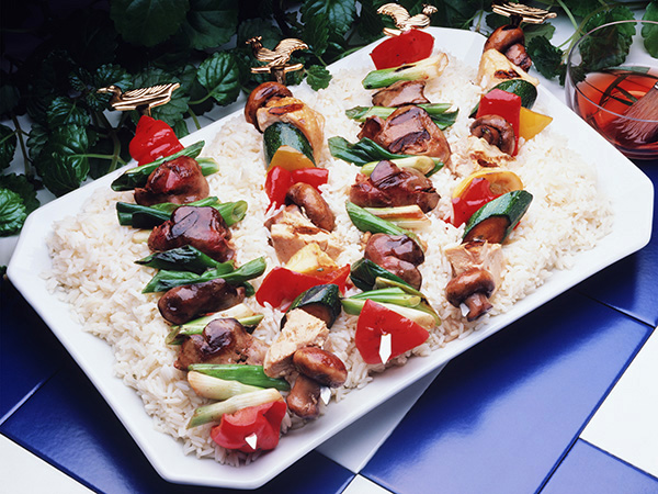 kebabs on a plate