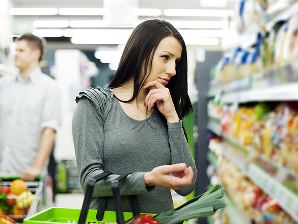woman shopping at supermarket