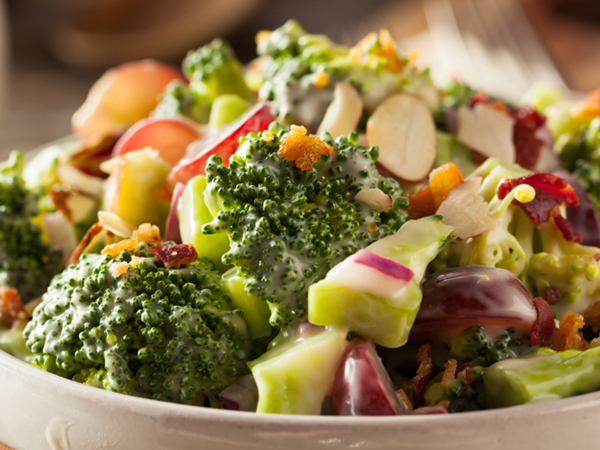 Broccoli salad with oil-based dressing and nuts - Forget Low-Fat and Low-Sugar, Concentrate on a Healthy Eating Pattern