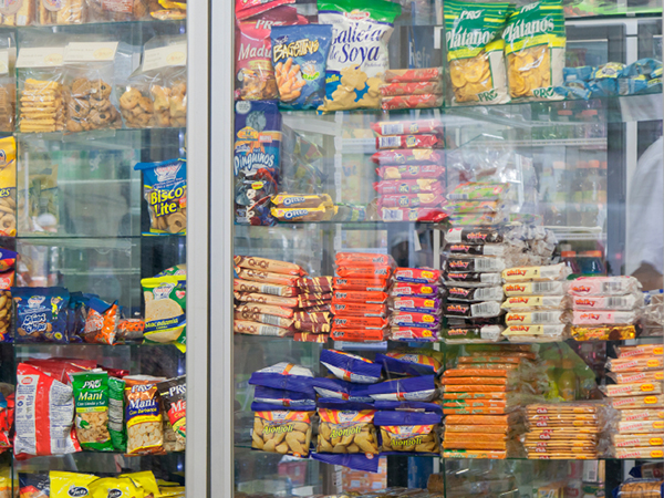 freezer of processed foods