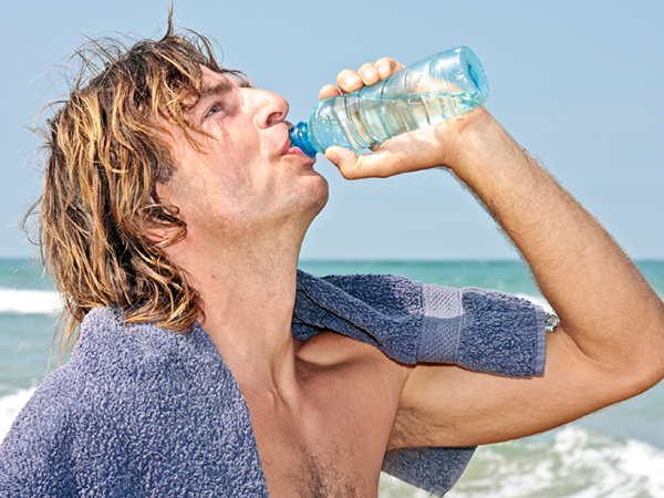surfer drinking water