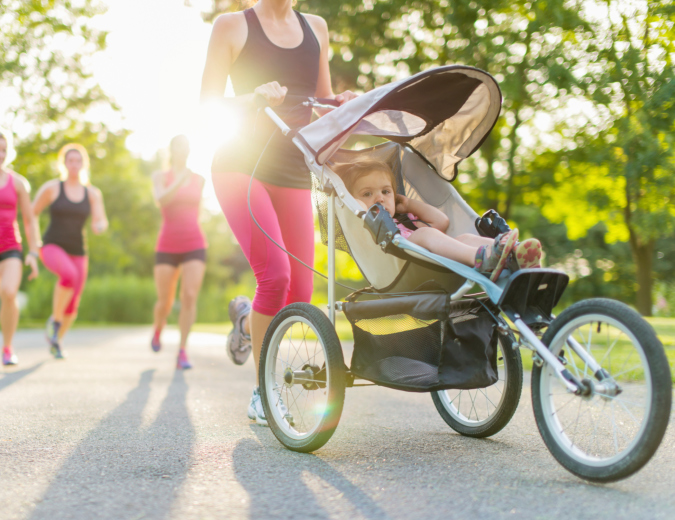 Mom Jogging with Stroller