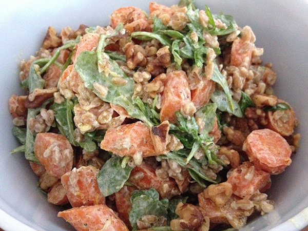 Roasted carrot and farro salad