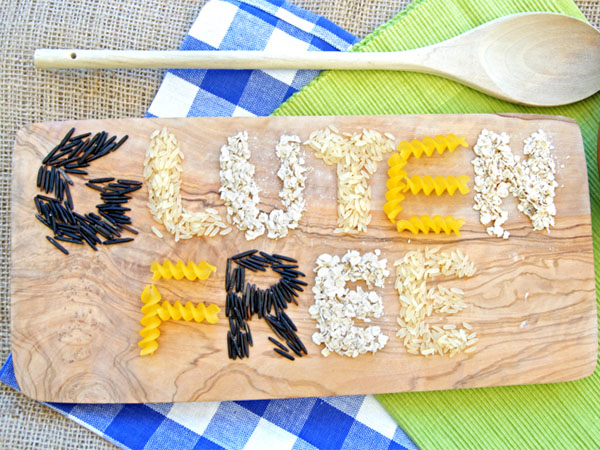 gluten free spelled out on cutting board