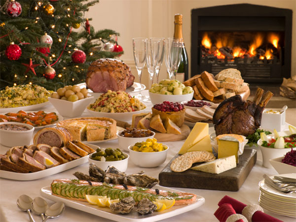 christmas spread of food