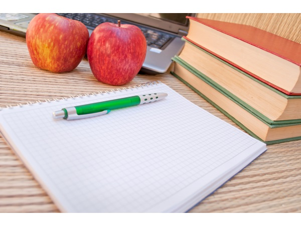 notebook, books and apples