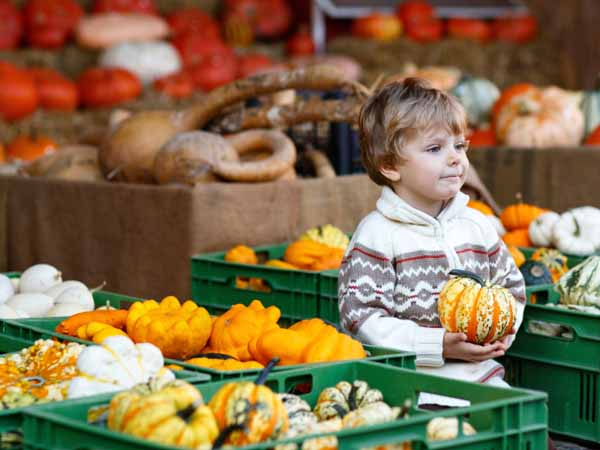Boy at Farmers Market  - 9 Fall Produce Picks to Add to Your Plate