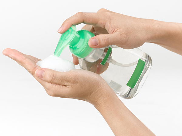 Soap pump with hand - Hand sanitizer or soap and water?